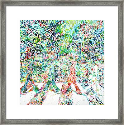 The Beatles - Abbey Road - Watercolor Painting Framed Print