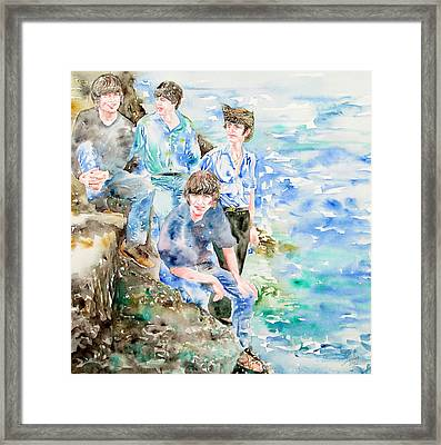 The Beatles At The Sea - Watercolor Portrait Framed Print by Fabrizio Cassetta