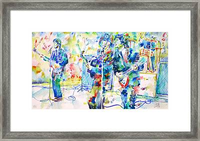 The Beatles Live Concert - Watercolor Portrait Framed Print by Fabrizio Cassetta