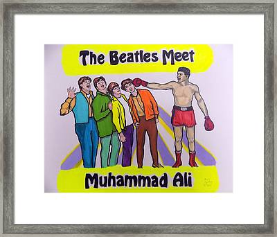 The Beatles Meet Muhammad Ali Framed Print by Mary Sperling