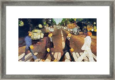 The Beatles On Canvas Framed Print by Dan Sproul