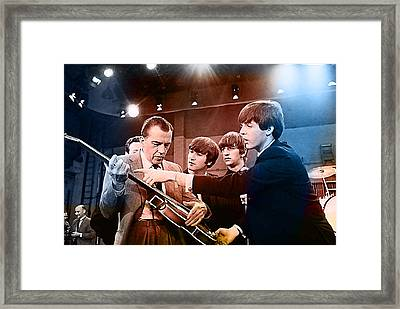 The Beatles On The Ed Sullivan Show Framed Print