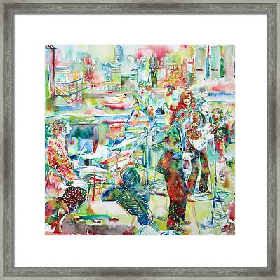 The Beatles Rooftop Concert - Watercolor Painting Framed Print by Fabrizio Cassetta
