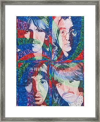 Framed Print featuring the drawing The Beatles Squared by Joshua Morton