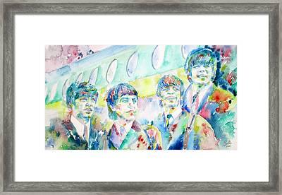 The Beatles - Watercolor Portrait.3 Framed Print