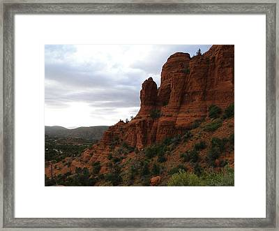 The Beautiful Hillside Of Sedona On A Cloudy Afternoon Framed Print