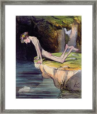 The Beautiful Narcissus Framed Print by Honore Daumier