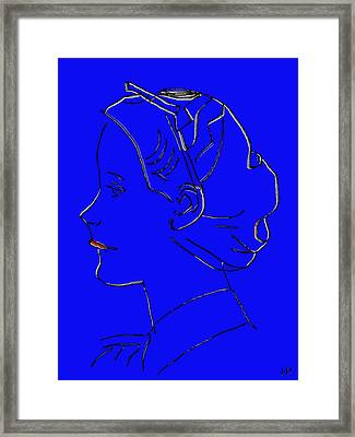 The Beautiful Virgin Chambermaid Blue Framed Print by Sir Josef - Social Critic - ART