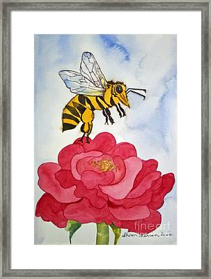 Framed Print featuring the painting The Bee And The Rose by Shirin Shahram Badie