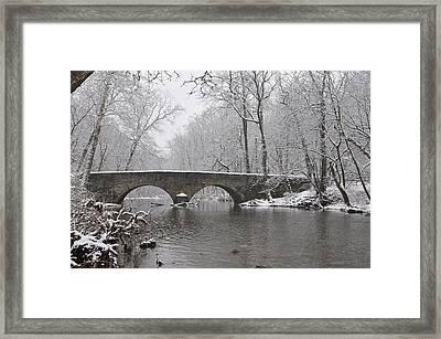 The Bells Mill Road Bridge In Winter Framed Print by Bill Cannon