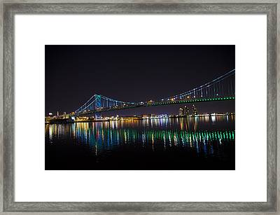 The Ben Franklin Bridge At Night Framed Print by Bill Cannon