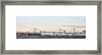 The Ben Franklin Bridge From Penn Treaty Park Framed Print by Bill Cannon