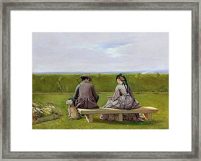 The Bench By The Sea Framed Print by Eyre Crowe