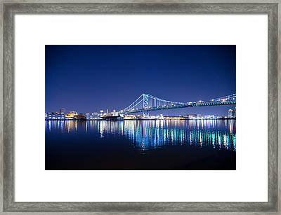 The Benjamin Franklin Bridge At Night Framed Print by Bill Cannon