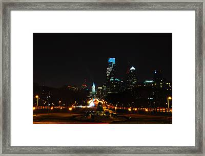 The Benjamin Franklin Parkway At Night Framed Print by Bill Cannon
