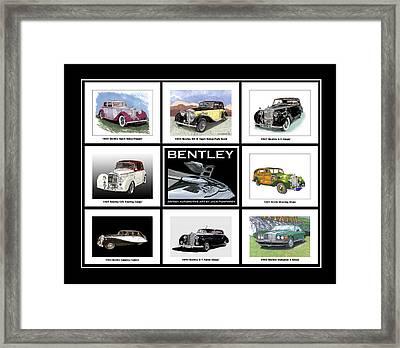 Bentley Poster Of Classics Framed Print by Jack Pumphrey