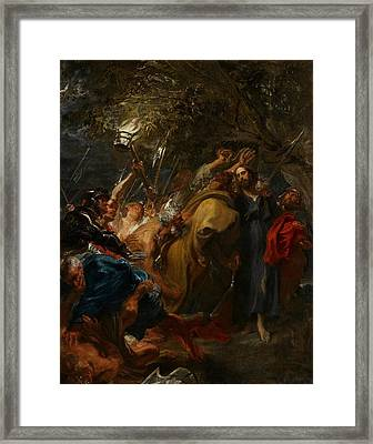 The Betrayal Of Christ Framed Print by Anthony Van Dyck