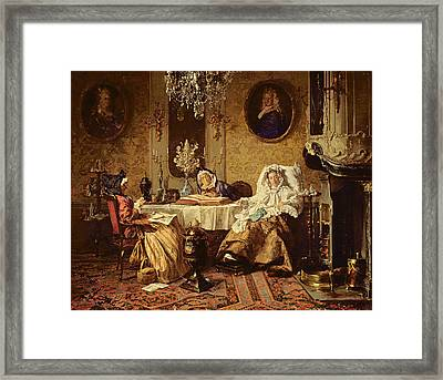 The Bible Reading, 1879 Framed Print