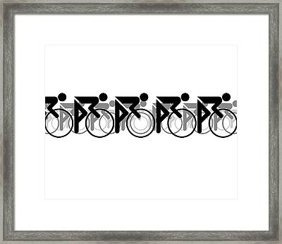 Framed Print featuring the digital art The Bicycle Race 2 White by Brian Carson