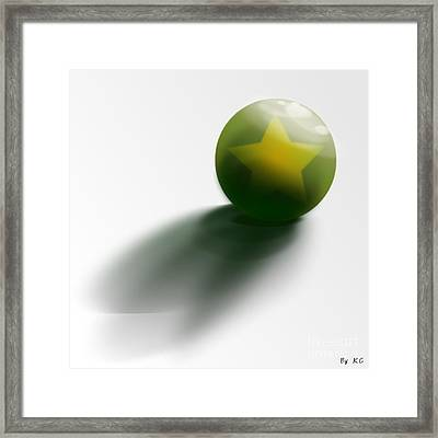 Green Ball Decorated With Star White Background Framed Print by R Muirhead Art