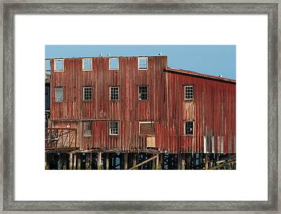 The Big Red Net Shed Is A Prominent Framed Print