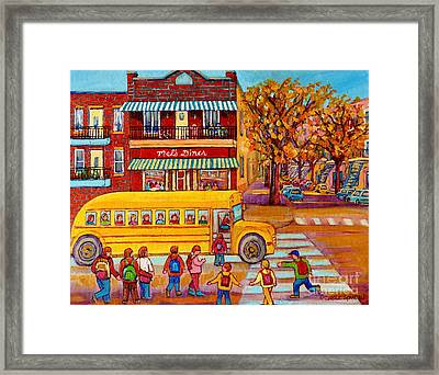 The Big Yellow School Bus Street Scene Paintings Of Montreal Framed Print by Carole Spandau
