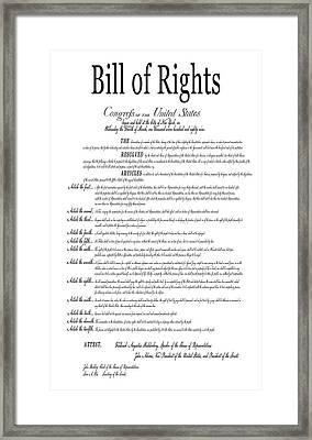 The Bill Of Rights Classic White Framed Print by Daniel Hagerman