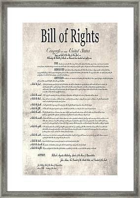 The Bill Of Rights Parchment Framed Print by Daniel Hagerman
