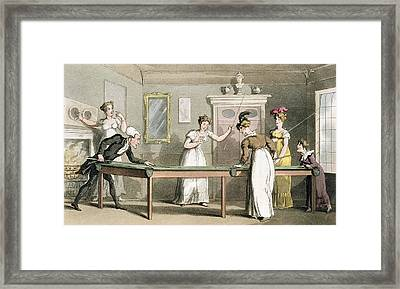 The Billiard Table, From The Tour Of Dr Framed Print by Thomas Rowlandson