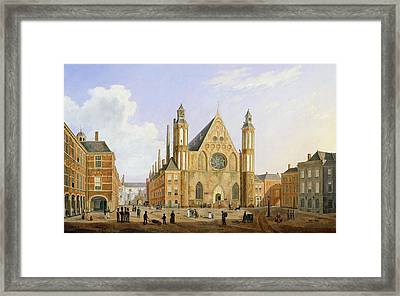 The Binnenhof In The Hague With A View Framed Print by Augustus Wynantz