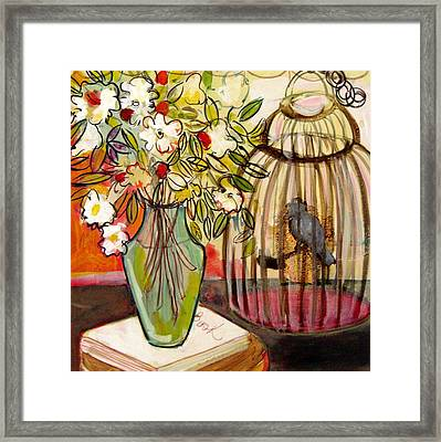 The Bird And The Book Framed Print by Melinda Jones