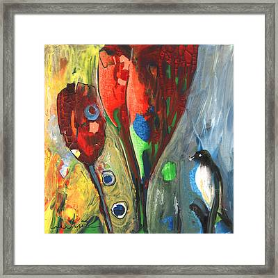 The Bird And The Tulips Framed Print by Miki De Goodaboom