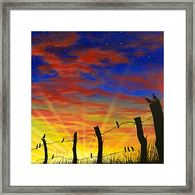 The Birds - Red Sky At Night Framed Print by Jack Malloch