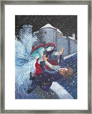 The Bishops Lady Attacking Thady Framed Print by Tomas OMaoldomhnaigh