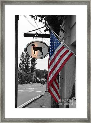 Framed Print featuring the photograph The Black Dog Store by Angela DeFrias
