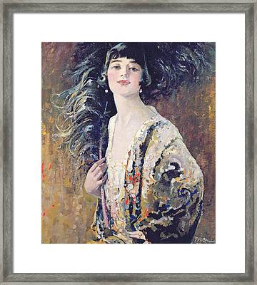 The Black Fan Framed Print by Frederick Hammersley Ball