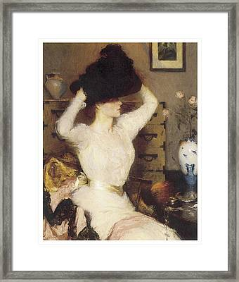 The Black Hat Framed Print by Frank Benson