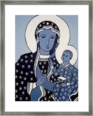 The Black Madonna In Blue Framed Print by John  Nolan
