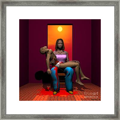 The Black Pieta Framed Print by Walter Oliver Neal