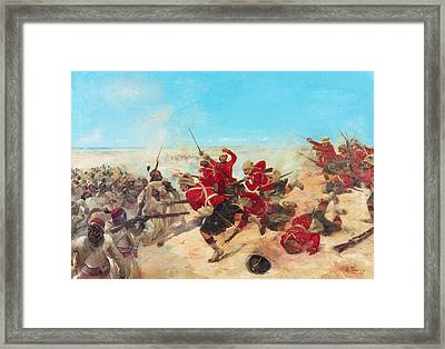 The Black Watch At The Battle Framed Print by Henri-Louis Dupray