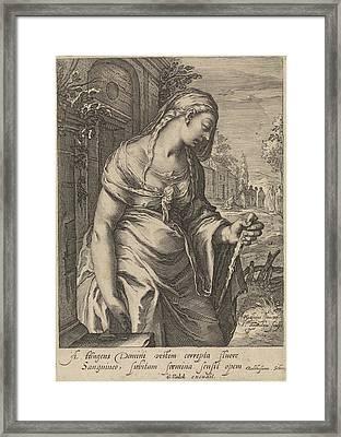 The Bleeding Woman, Jan Saenredam, Balthasarus Schonaeus Framed Print by Jan Saenredam And Balthasarus Schonaeus And Gerard Valck