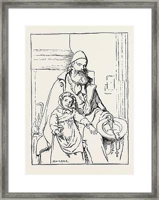 The Blind Beggar Framed Print by Bale, Edwin (1838-1923), English