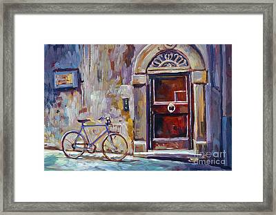 The Blue Bicycle Framed Print by David Lloyd Glover