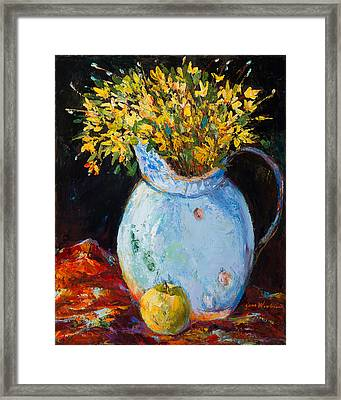 The Blue Clay Pot With Apple Framed Print by Jane Woodward