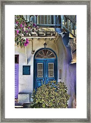 The Blue Door-santorini Framed Print by Tom Prendergast