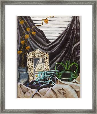 Framed Print featuring the painting The Blue Dragon  by Susan Culver