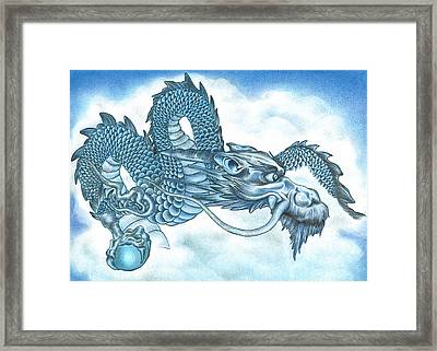 The Blue Dragon Framed Print by Troy Levesque