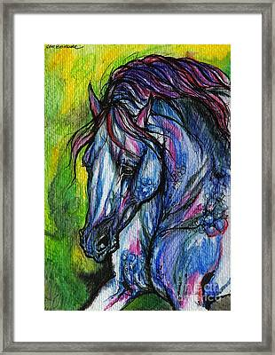 The Blue Horse On Green Background Framed Print by Angel  Tarantella