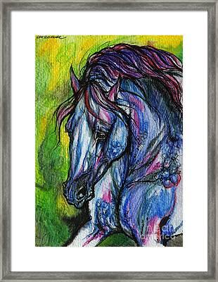 The Blue Horse On Green Background Framed Print by Angel  Tarantella