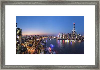 The Blue Hour In Shanghai Framed Print